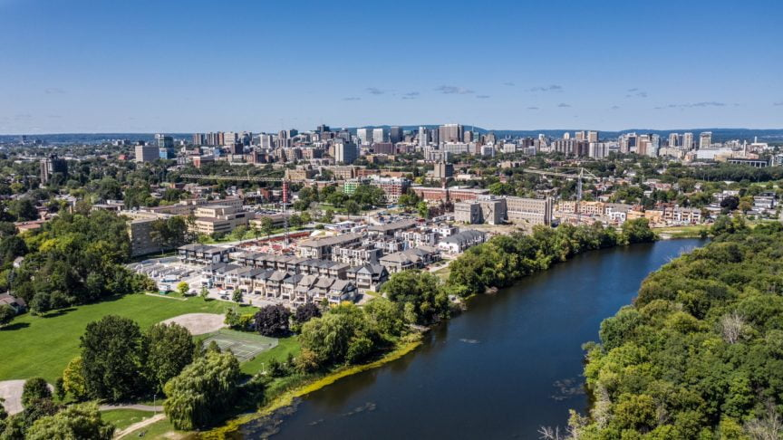 Aerial vie of Greystone Village, Ottawa, ON - Land investment