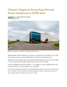 2019 -June-6 OBJ Ottawa's Regional Group buys Bantree Street