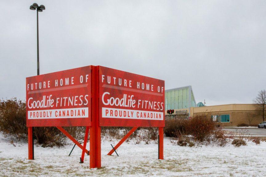 Goodlife Fitness sign outside Hazeldean mall