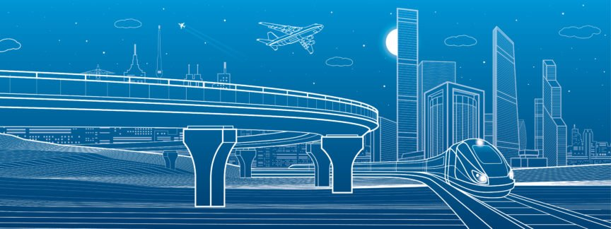Blue Background of Highway, Building Skyline, Airplane and Train